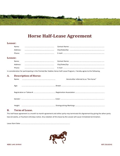 Rent Tables Horse Half Lease Agreement Free Download