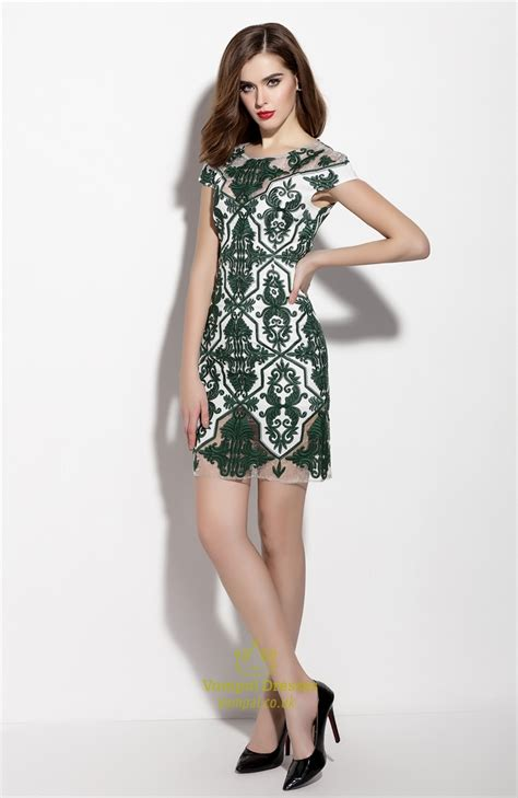 green cocktail dresses with sleeves emerald green illusion neckline sheath cocktail dress with