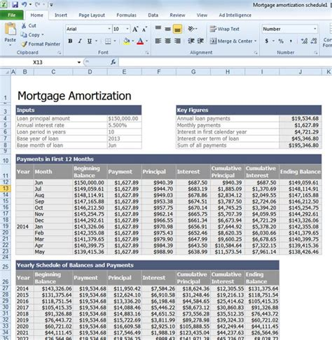 calculate mortgage loan amortization with an excel template