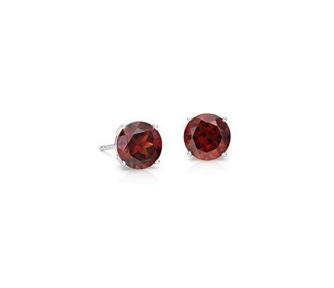 garnet stud earrings in 18k white gold 7mm blue nile