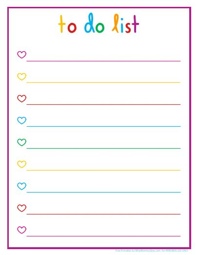 to do list printable checklist free colorful printable daily checklist for keeping up with stuff