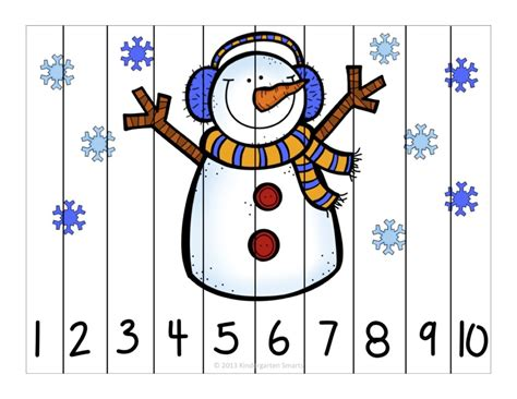 printable winter jigsaw puzzles winter fun counting number puzzles kindergarten smarts