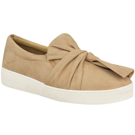 flat shoes with bow new womens trainers faux suede slip on flat bow
