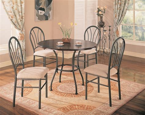 halle 5pc brown dining room set with metal base
