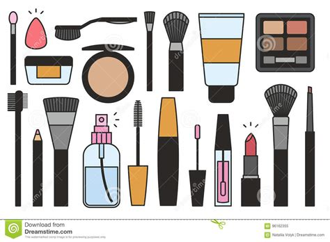 Weekend Roundup Lipstick Powder N Paint 14 2 by Makeup Tools Icons Stock Vector Image Of Applicator