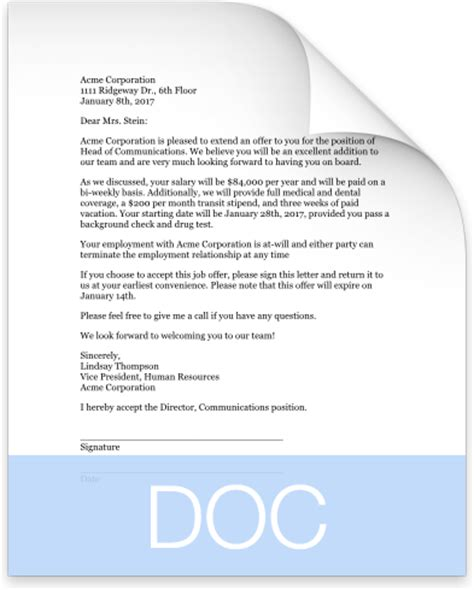 Letter Format For Product Offers Offer Letter Template That Works Clicktime