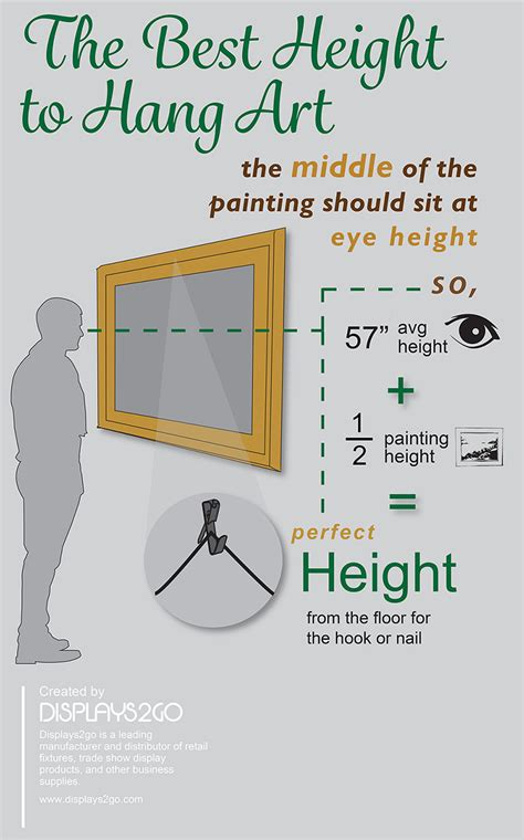 what height to hang pictures the best height for hanging art with infographic