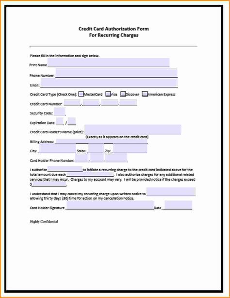Credit Card Authorization Form Template Microsoft Office Blank Credit Card Authorization Form Template