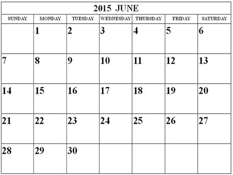 Calendar 2015 June Template June 2015 Blank Calendar With Holidays Calendar