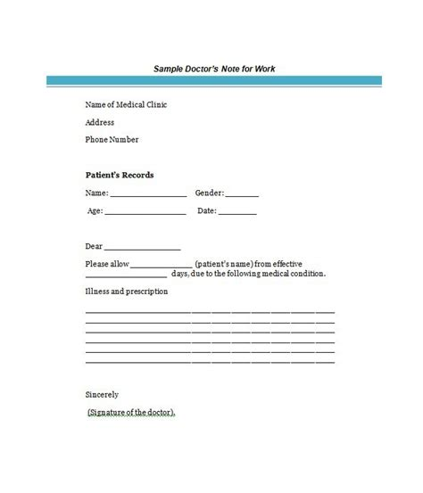 dr sick note template 25 free doctor note excuse templates template lab