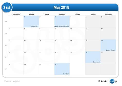 Kalendarz Z Dniami Wolnymi 2018 Kalendarz Maj 2018