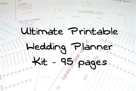 ultimate printable wedding planner ultimate printable wedding planner kit 95 pages by