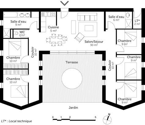 Plan De Maison Plein Pied En U plan maison plain pied avec 5 chambres ooreka