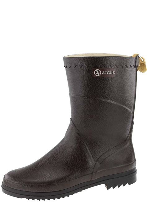 rubber boot height aigle bison lady brown rubber boots a half height
