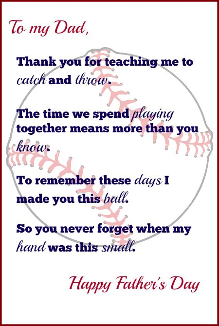 free fathers day poems handprint baseball s day gift with free printable