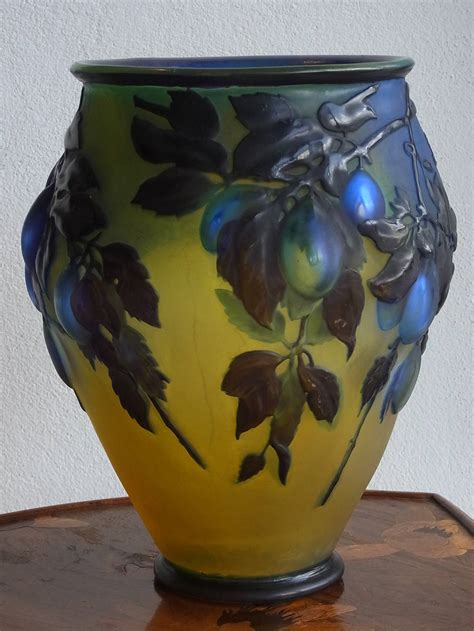 Galle Glass Vase by Blue Plum Mold Blown Cameo Glass Vase By Emile Gall 233
