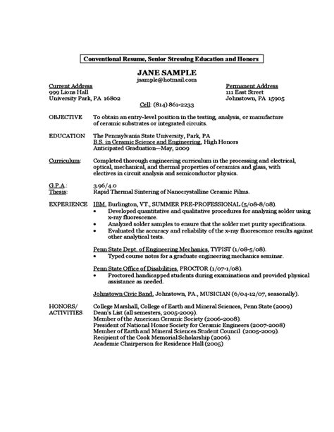 Sle Resume By A First Year Student Free Download Penn State Resume Template