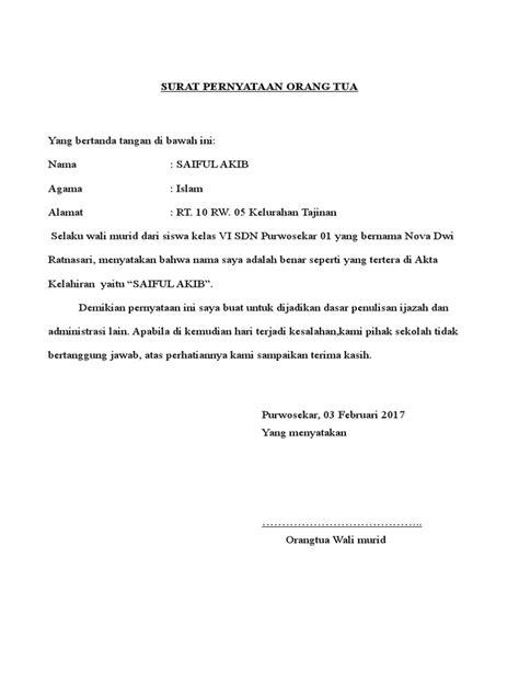 Download Surat Pernyataan Orang Tua - Guru Paud