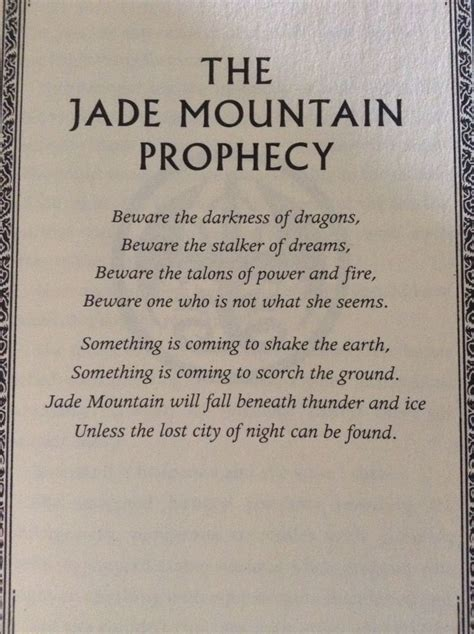 vire academy quotes jade mountain prophecy from wof board