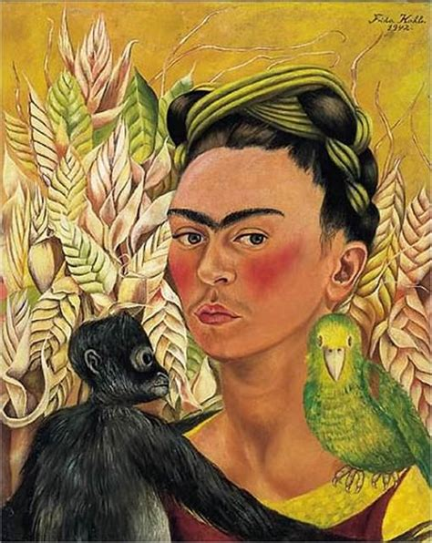 frida kahlo self portrait biography self portrait with monkey and parrot by frida kahlo