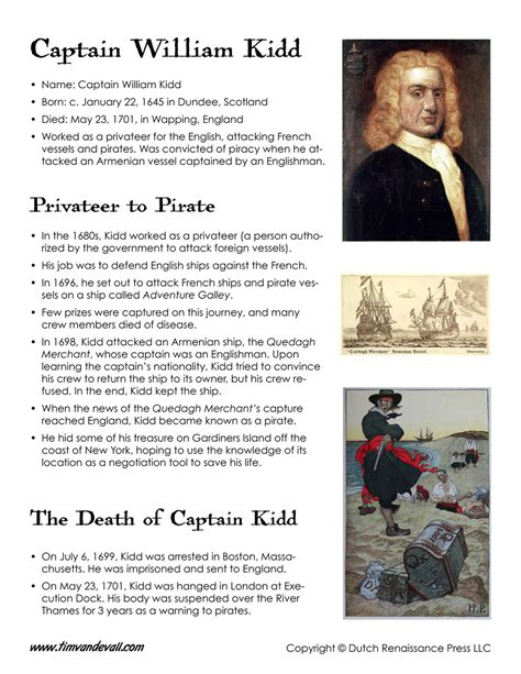 biography information for students captain william kidd facts for kids tim s printables