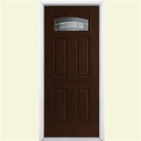 Masonite Fiberglass Exterior Doors Masonite 36 In X 80 In Croxley Camber Fan Lite Espresso Oak Grain Textured Fiberglass Prehung
