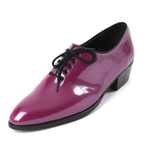 purple dress shoes mens toe glossy purple lace up oxfords high