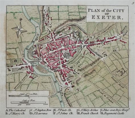 printable map exeter antique maps of exeter in devon
