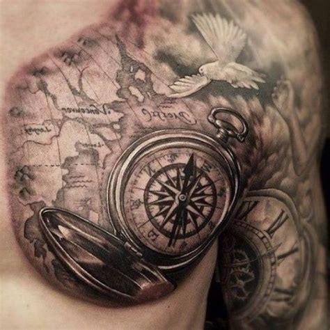 tattoo compass mit karte eine wei 223 e taube eine gro 223 e weltkarte und ein gro 223 er