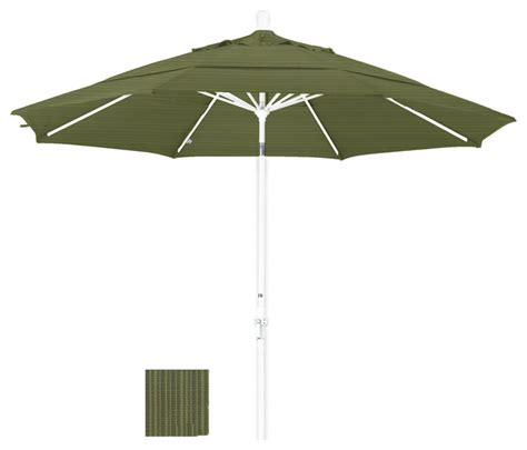 Olefin Patio Umbrella 11 Foot Olefin Aluminum Crank Lift Collar Tilt Patio Umbrella White Pole Contemporary