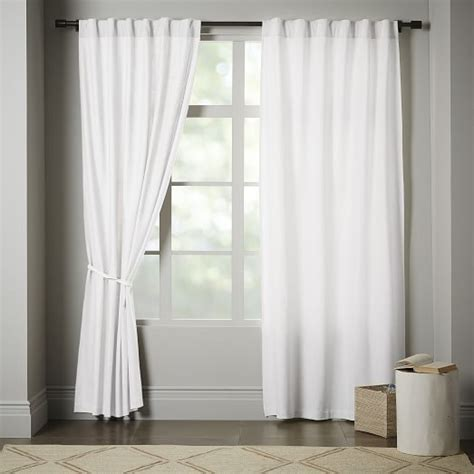 curtains white cotton linen cotton curtain stone white west elm