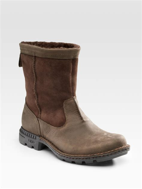 ugg boots for ugg hartsville shearling lined boots in brown lyst
