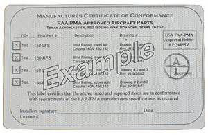 manufactures quot certificate of conformance quot and log book