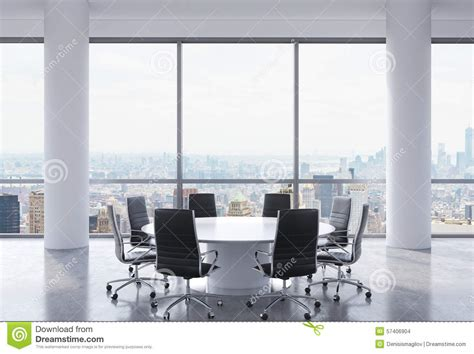 panoramic conference room in modern office new york city