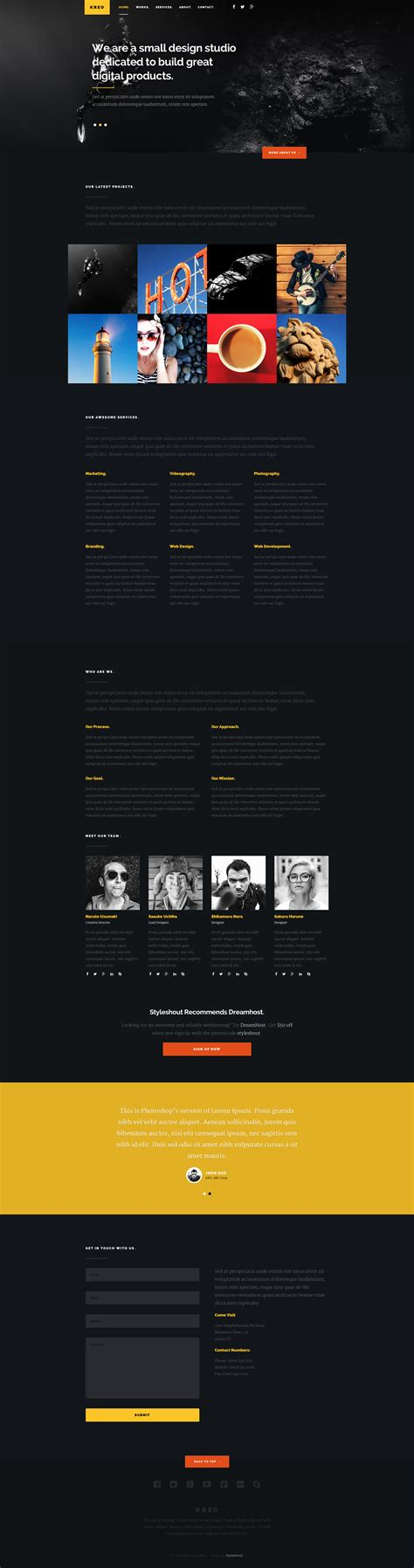 kreo free responsive html5 landing page template