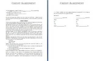 Credit Terms Template by Credit Agreement Template Free Agreement And Contract