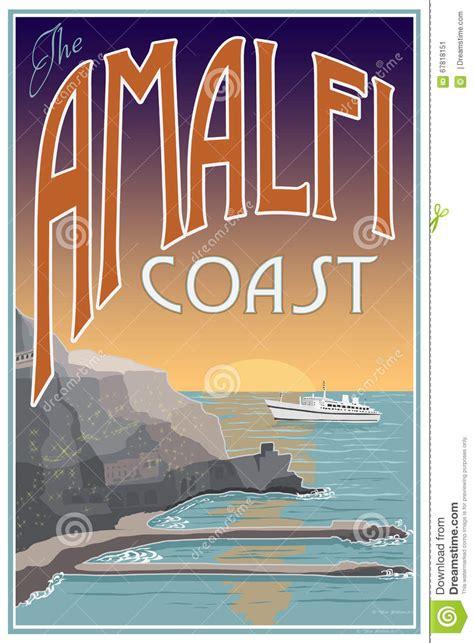 amalfi coast travel poster stock illustration image