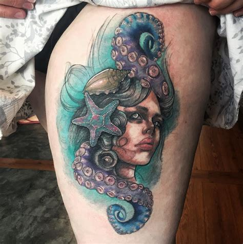 level up tattoo mermaid portrait neo traditional level up