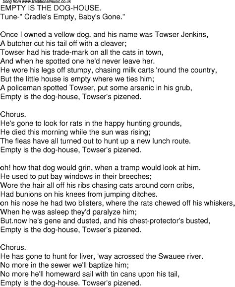 dog house song old time song lyrics for 10 empty is the dog house