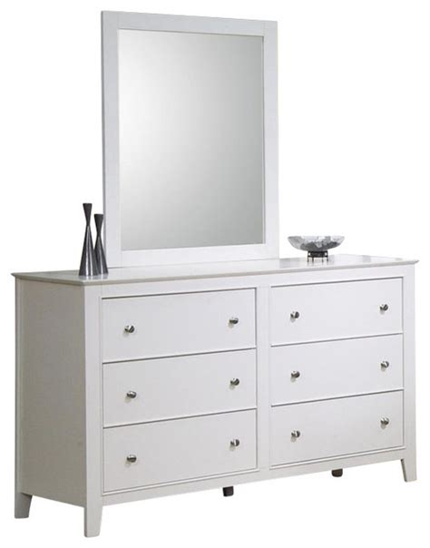 White 6 Drawer Dresser With Mirror by Coaster Selena 6 Drawer Dresser And Mirror Set In
