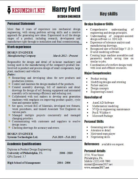 engineering resume format 2017 design engineer resume templates 2017