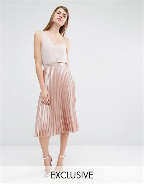 Pleated Midi Skirt Rok Murah Promo true violet true violet midi pleated skirt at asos