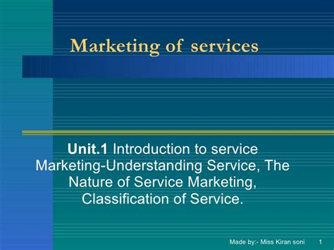 Of Marketing Mba by Mba Unit1 Marketing Of Services