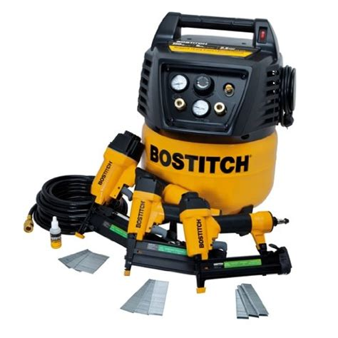 stanley bostitch brad finish nailer stapler air compressor combo kit btfp12237