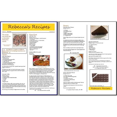 tips for creating a recipe newsletter or cooking phlet