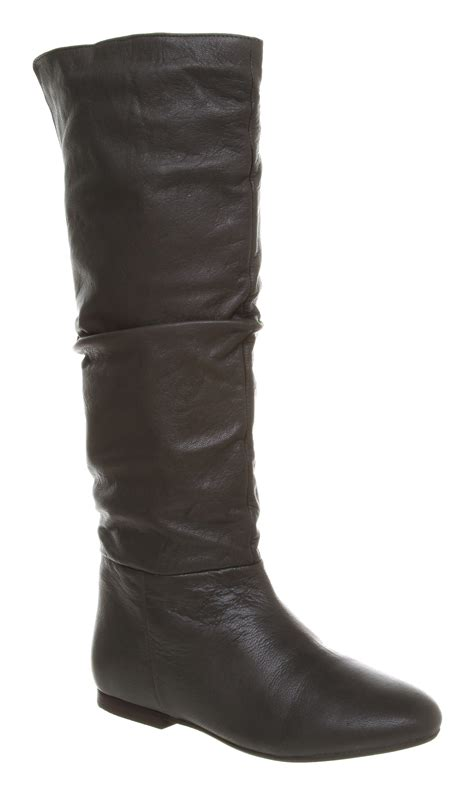 womens office echo flat knee boot grey leather boots ebay