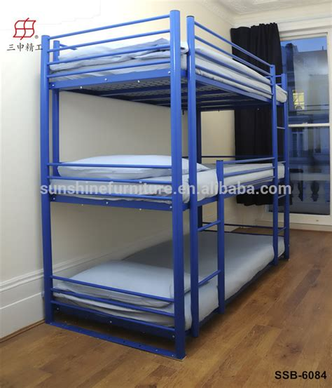 Three Level Bunk Bed Home Hotel School Furniture Metal Sleeper Bunk Bed