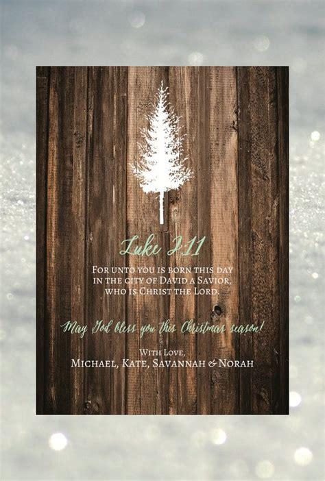rustic tree christmas card diy printable printed set   christian christmas card rus