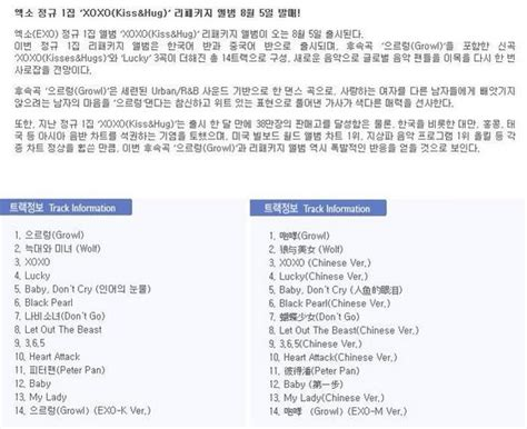 exo xoxo songs exo daily exo repackage album tracklist