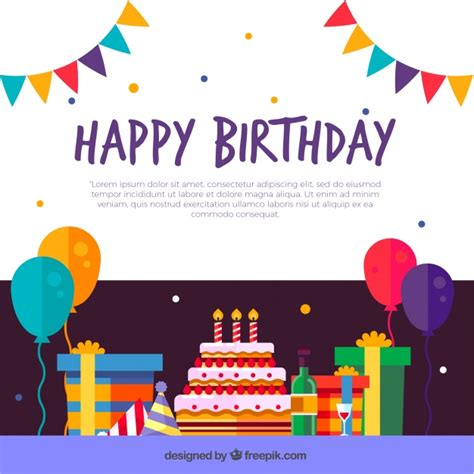 flat decoration birthday decoration background in flat design vector